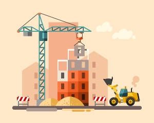 Construction site, building a house - vector flat illustration.