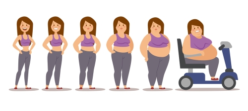 Fat woman cartoon style different stages vector illustration. Fa